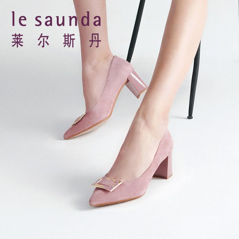 莱尔斯丹 2018秋新款专柜方扣装饰尖头粗跟女绒面单鞋9T58601