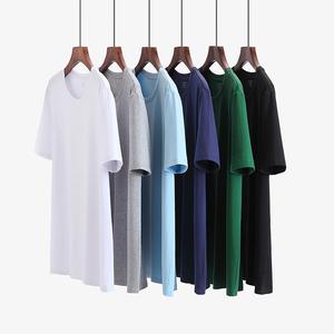 2件装男士短袖运动t恤纯色潮流圆领短袖春夏纯棉老头衫大码打底衫