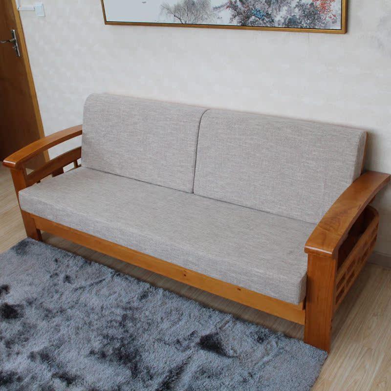 星沁实木沙发海绵床混纺麻布-亚麻色