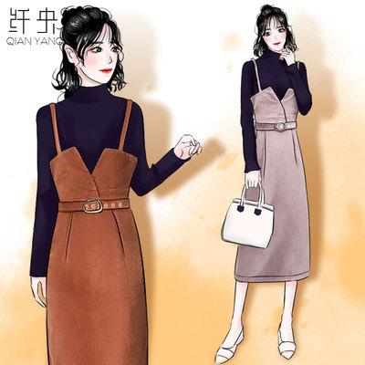 2018秋季新款时尚过膝中长款背带裙套装收腰吊带裙港风女神两件套
