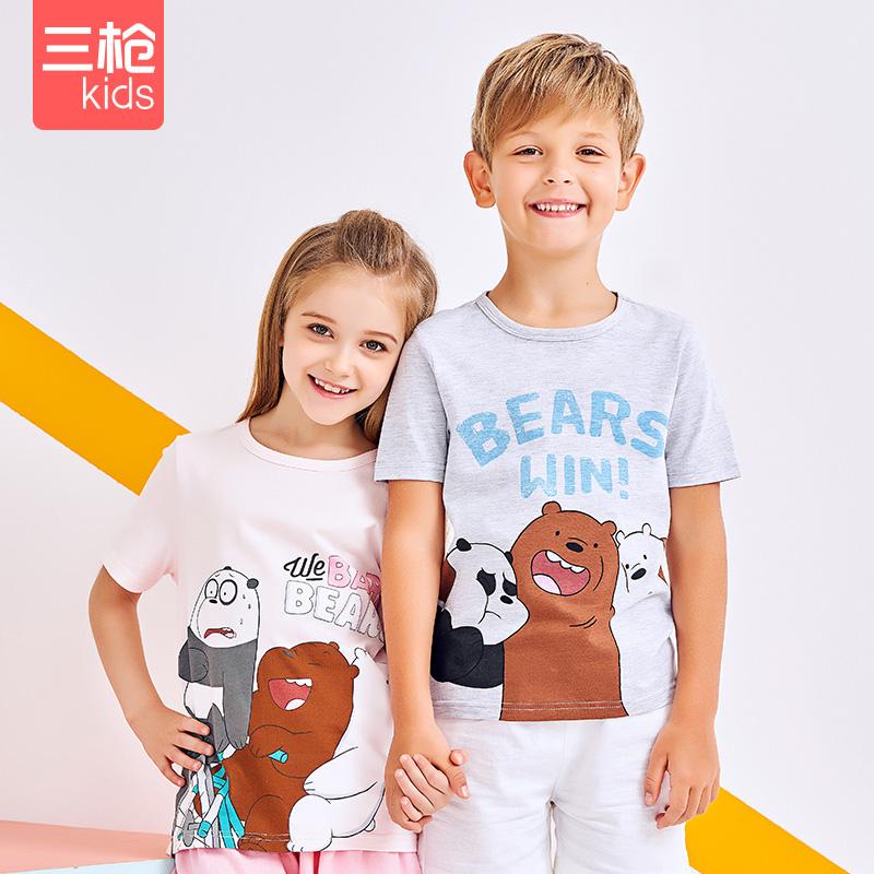 三枪迪士尼男女童短袖T恤衫