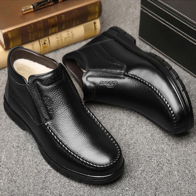 中老年棉鞋男士加绒真皮牛皮羊毛高帮皮鞋男