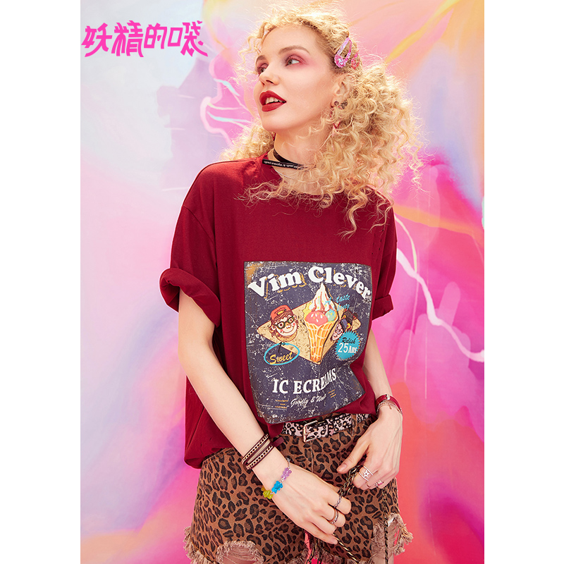Fairy pocket printing short-sleeved T-shirt female 2019 summer new half-sleeved Tide shirt loose chic shirt