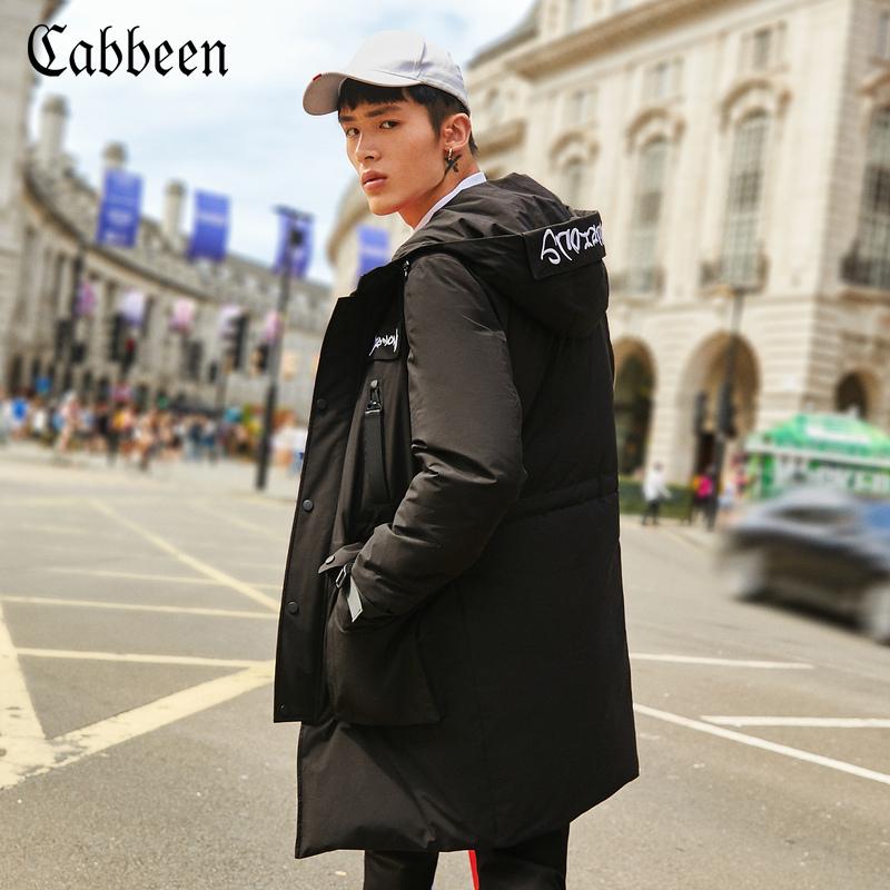 卡宾男装连帽字母绣花白鸭绒厚款羽绒服冬季中长款防寒服外套B