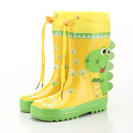 Children's Rain Boots Outdoor travel rain boots boys and girls cartoon car dinosaur rabbit non-slip high tube baby water shoes
