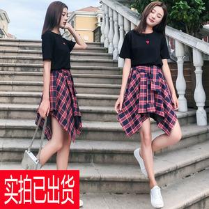 马来西亚服装厂家新款大码女装洋气套装胖mm遮肉短袖两件套装2...