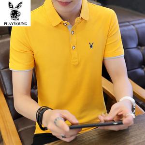 夏季纯棉男士短袖t恤男装修身韩版半袖体恤翻领POLO衫潮流 上衣服