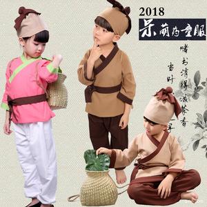 幼儿呆萌摄影服儿童小和尚药童农夫表演服学生古装书童锄禾演出服