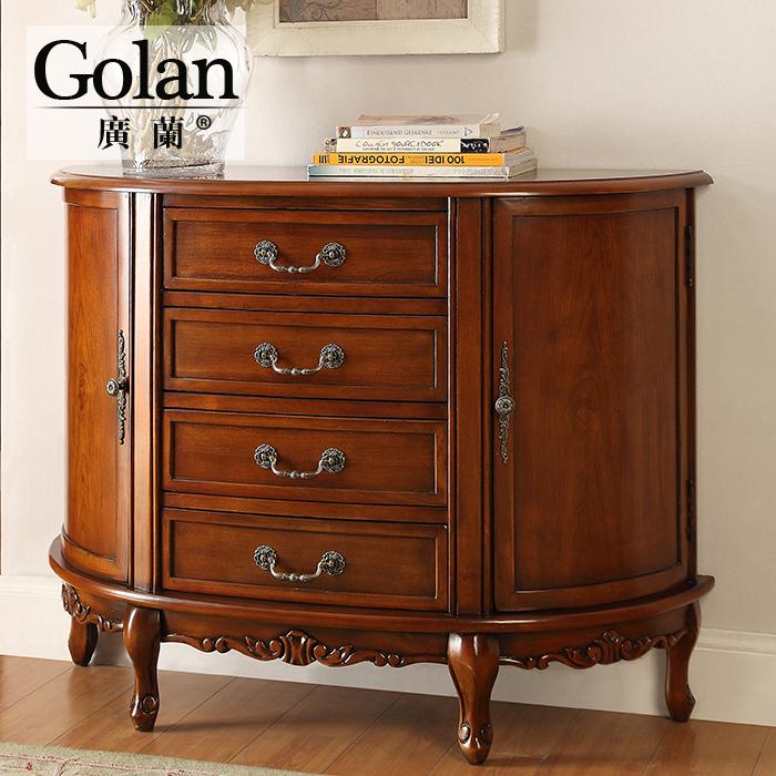 广兰家具实木美式靠墙门厅餐边柜欧式储物玄关柜沙发后背柜AP550