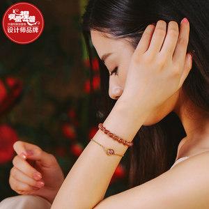 草莓晶粉水晶手链女韩版 简约 学生森系闺蜜个性手串招桃花转运珠