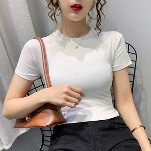 实拍纯棉短袖t恤基础修身2020夏季女装新款洋气纯色紧身上衣ins潮