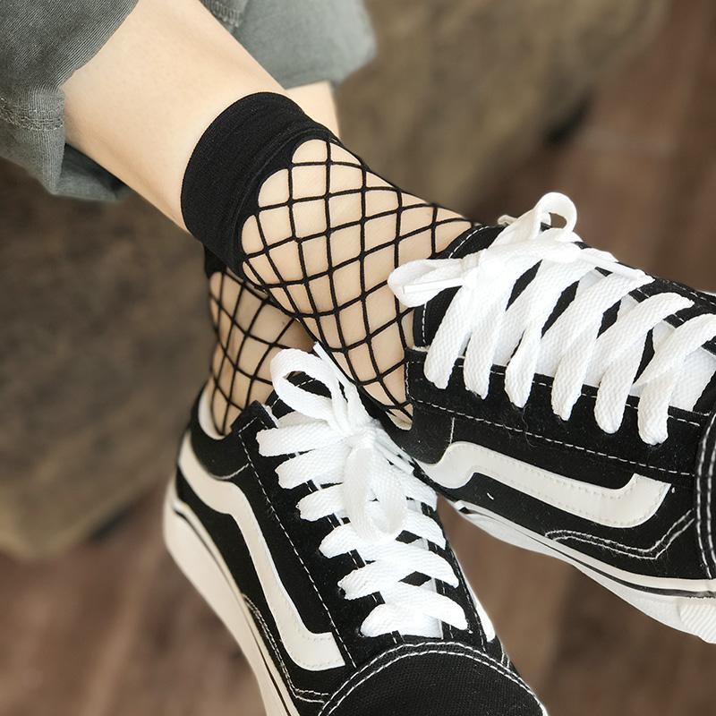 网格丝袜眼打底黑色复古短袜个性镂空洞女潮袜2双装性感网袜性感娘码鞋伪渔网大图片