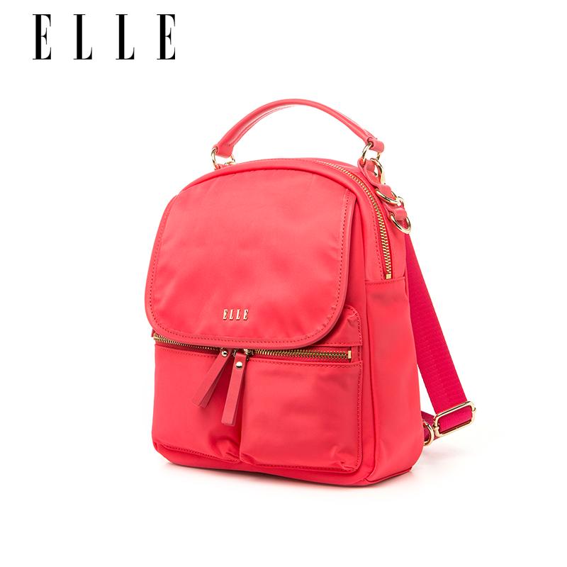 ELLE女包新款雙肩包80379時尚休閑旅行手提包簡約純色ins超火背包