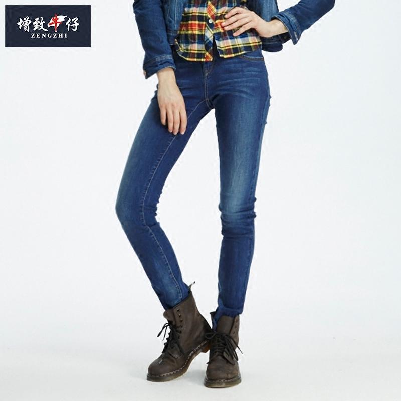 增致牛仔裤女士高弹力修身显瘦小直筒长裤2017新款281012