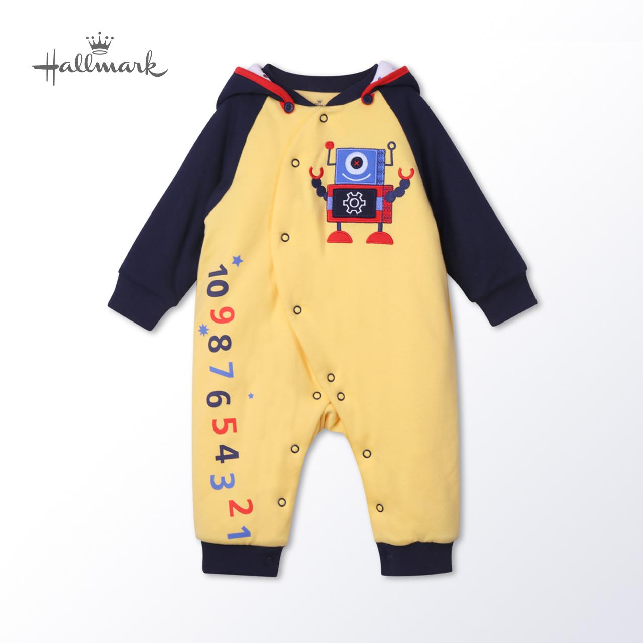Hallmark贺曼2018秋装新款男婴宝宝婴儿纯棉夹棉连帽长袖连身衣