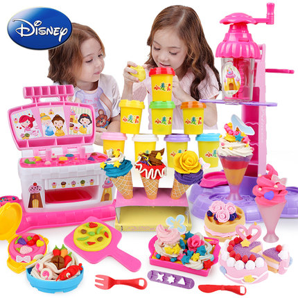 Non-toxic Clay Disney Children's Color Mud Set Plasticine Toys Ice Cream Machine Mold Tools Handmade Mud Clay Girl