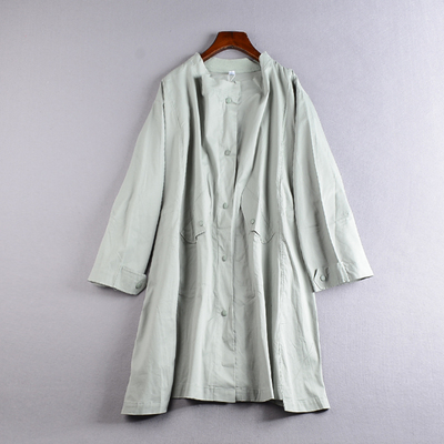 1.2 kg J @ 16 autumn new Korean women stand-collar single-breasted long-sleeved long trench coat YQ