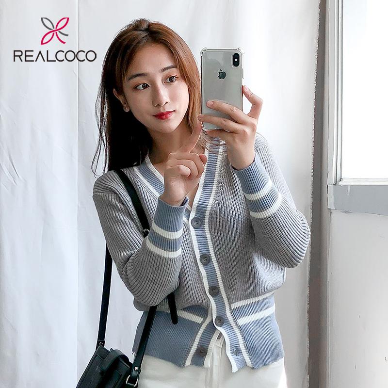 Realcoco条纹针织衫女长袖秋薄款韩版秋装2018新款宽松外套开衫