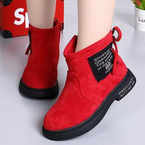 女童短靴2018新款韩版秋冬季加绒宝宝马丁靴小女孩公主儿童棉靴子