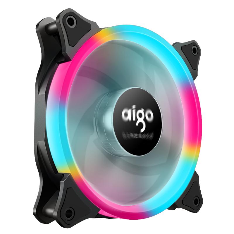 爱国者极光彩虹12cm风扇12V炫彩LED散热台式水冷电脑主机箱风扇