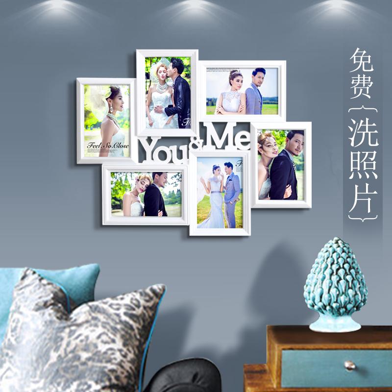 免费洗照片定制 连体创意照片墙 婚纱照挂墙相框墙制作相片框组合_7折图片