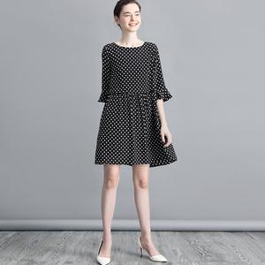 波点印花真丝连衣裙女装气质荷叶边中袖宽松桑蚕丝中裙