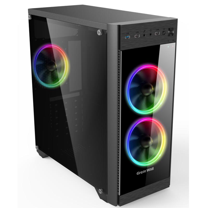 长城本色M42 USB3.0电脑机箱台式机主机机箱 侧透游戏机箱 玻璃