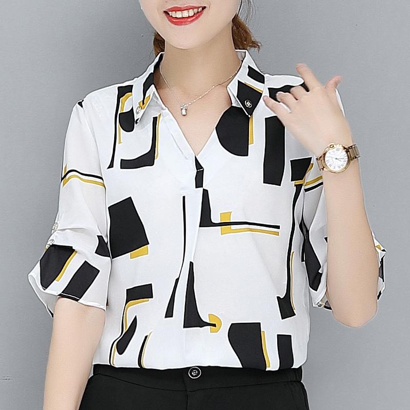 雪纺衬衫女短袖2020夏季新款韩范白衬衣超仙甜美半袖碎花宽松上衣