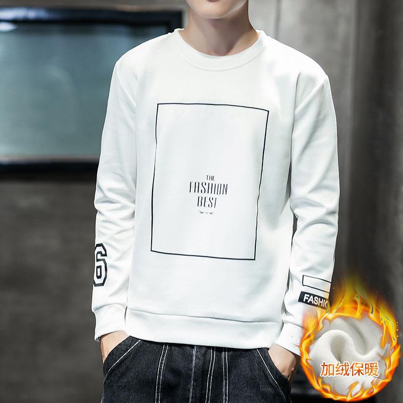 男士圆领长袖T恤2018新款秋冬季韩版潮流学生加绒套头衫上衣服男