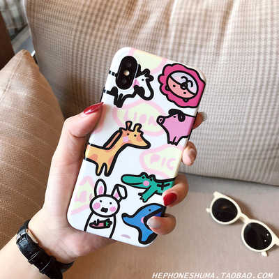 Fun Zoo illustration apple Iphonexs/xr/max mobile phone shell cartoon 7/8plus silicone can daughter
