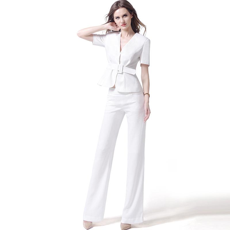 USPECIAL欧美白色职业套装女夏季时尚短袖两件套端庄大气商务正装