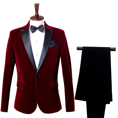 Male casual dress host suit suits singer costumes groom business suits wine red velveteen blue