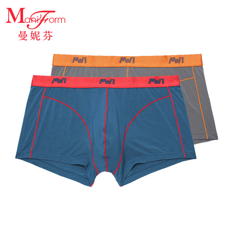 曼妮芬2条装男士内裤 中腰平角裤 舒柔莫代尔男士内裤