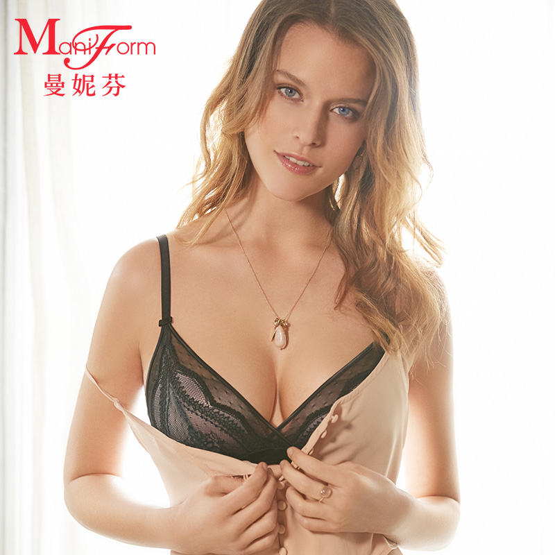曼妮芬舒适无钢圈稳定包容文胸 三角杯性感聚拢内衣女
