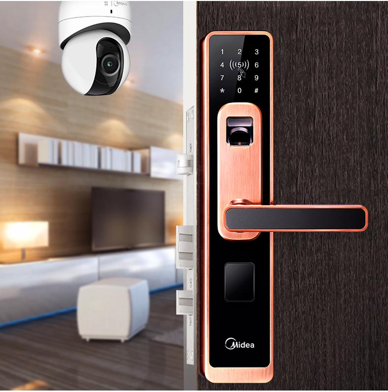 美的014指纹锁家用防盗门智能锁电子锁密码刷卡锁云锁玻璃门
