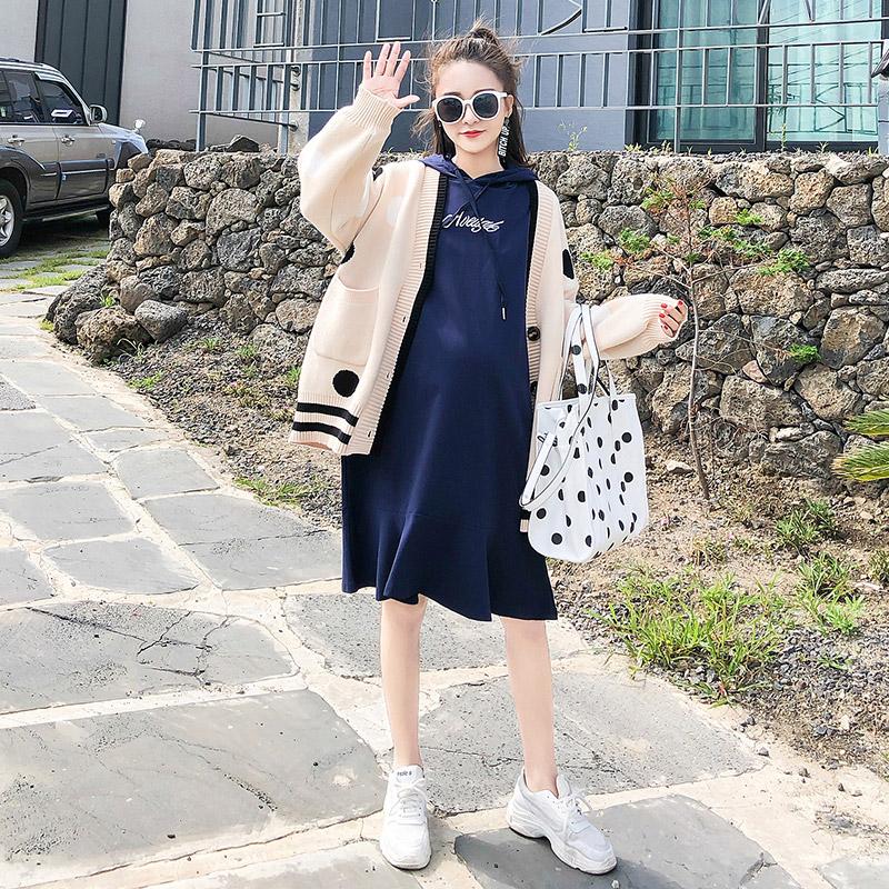 孕妇套装秋冬季2018新款韩版宽松毛衣连衣裙两件套孕妇装秋装上衣