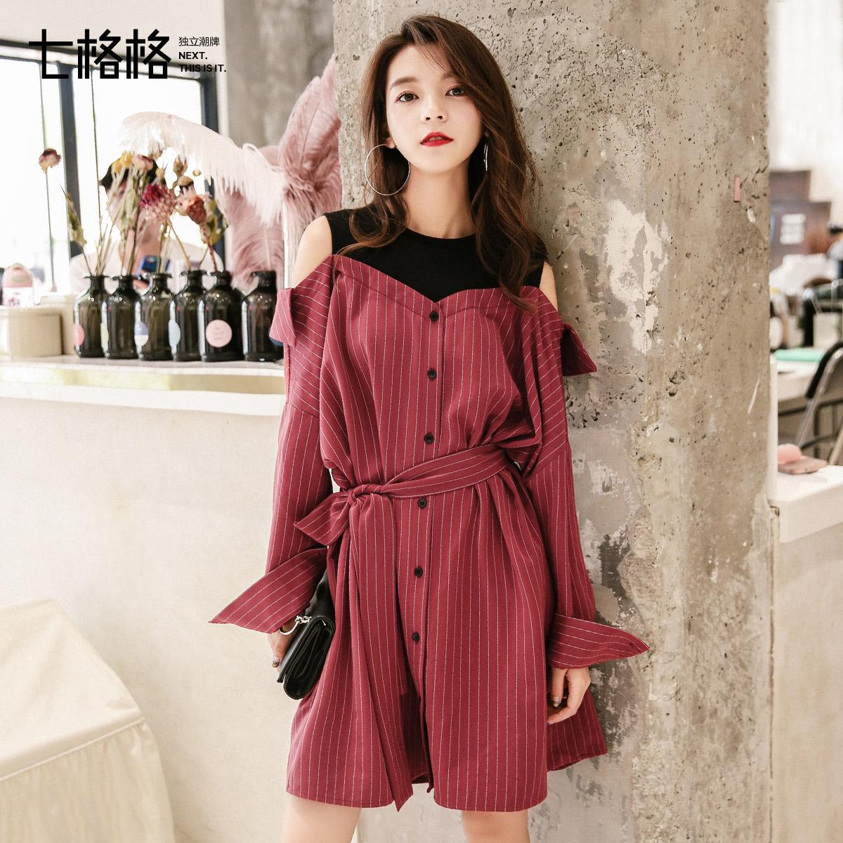 假两件套连衣裙拼接漏肩露肩2017秋装新款女装韩版时尚长袖衬衫裙