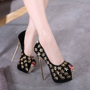 new ultra multi metal flowers 16CM ultrafine with high heels size34-40