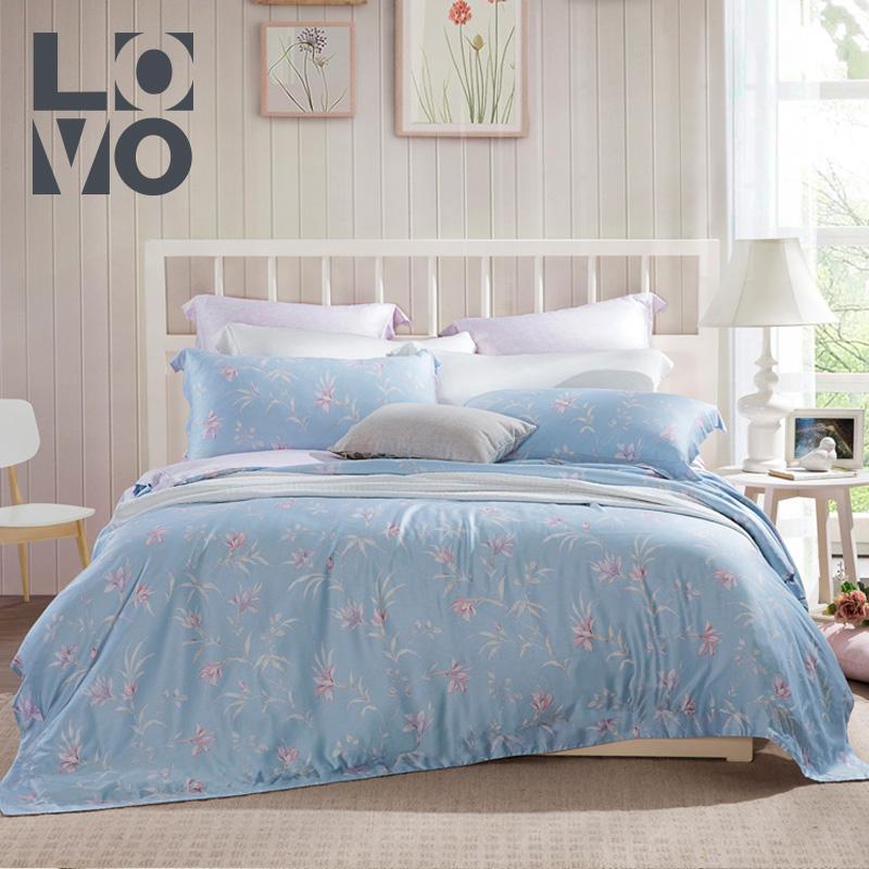 lovo家纺田园被套床单四件套件床上用品凝雪兰香