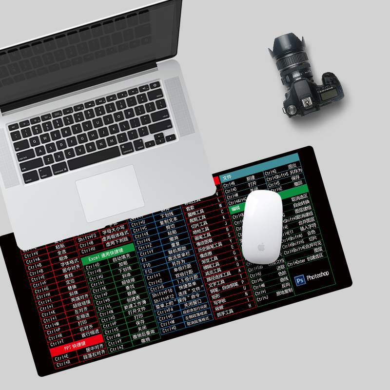 办公超大号鼠标垫快捷键全套做图 ps ppt exce AI 防水键盘垫定制