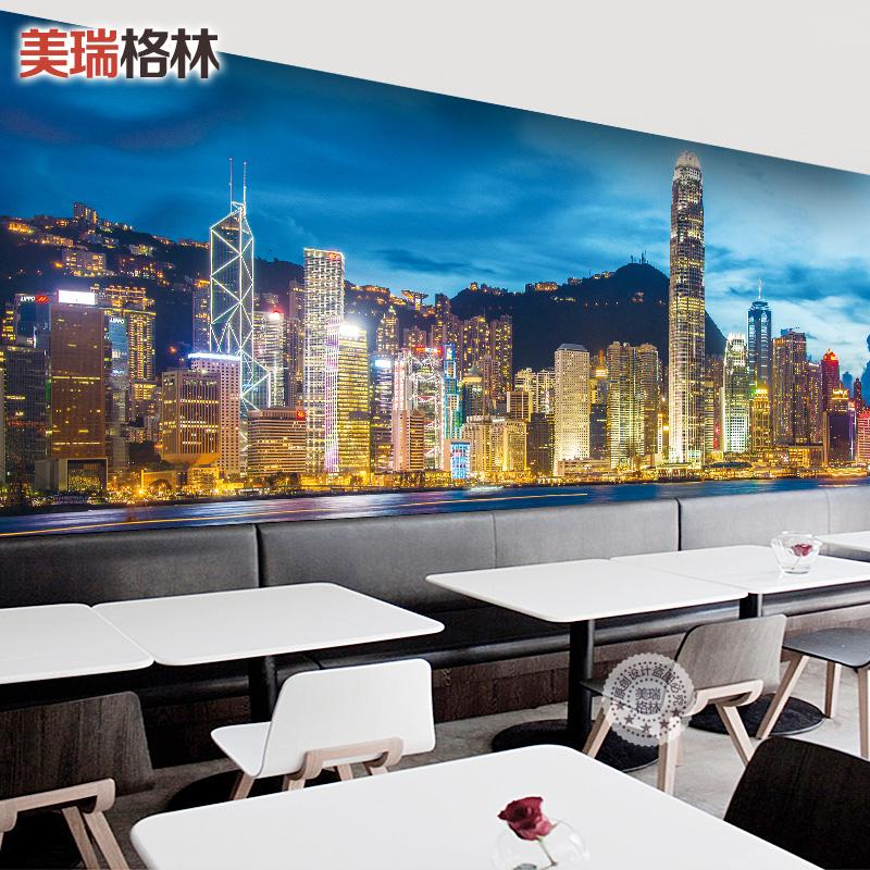 夜景香港餐厅奶茶店办公室客厅咖啡厅背景墙纸3d壁画定制个性壁纸_7折图片