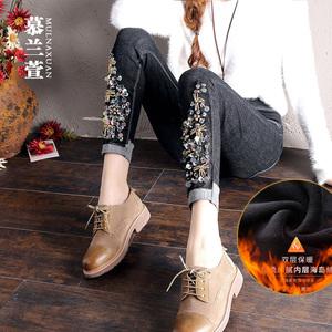 黑色牛仔裤女秋冬2019新款韩版显瘦小脚裤加绒高腰绣花春铅笔裤潮