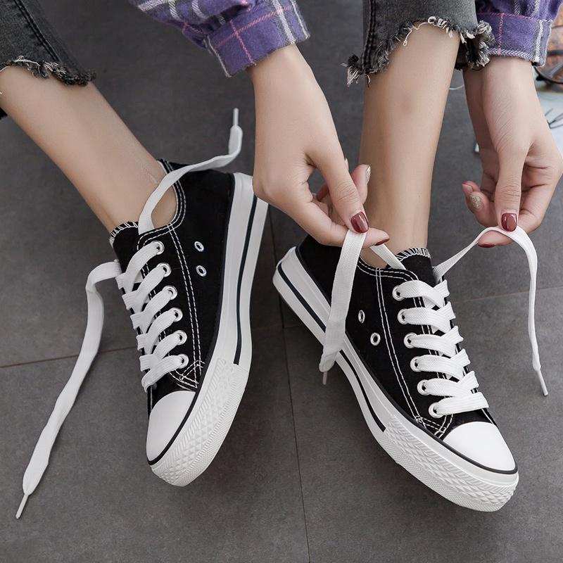 2019秋季新款百搭韩版小白帆布鞋女鞋潮鞋平底学生布鞋黑色板鞋子