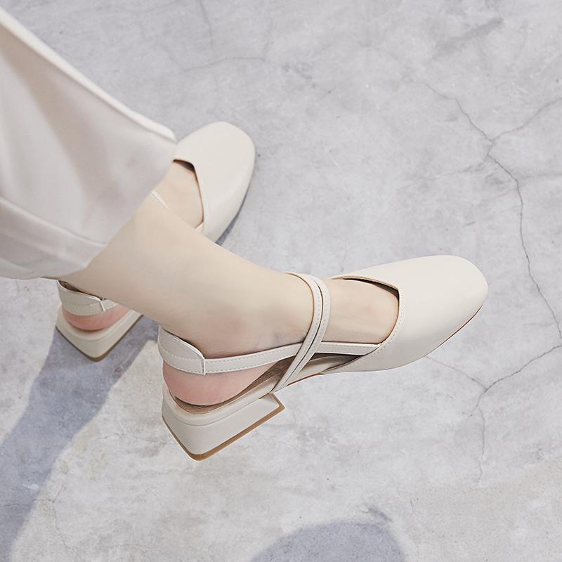 包头凉鞋女夏中跟2020新款韩版百搭学生仙女风复古粗跟一字带单鞋