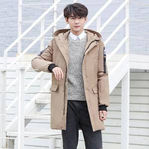 南极人羽绒服长款加厚90%白鸭绒羽绒服男冬季青年连帽外套抗寒