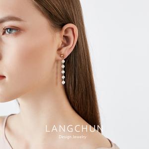 925纯银珍珠耳环女气质长款流苏网红高级感百搭法式小众优雅耳坠