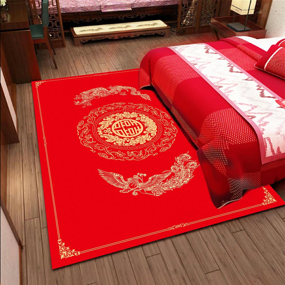 地毯结婚门垫进门红色地毯卧室床边毯脚垫家用门口喜庆婚房地垫