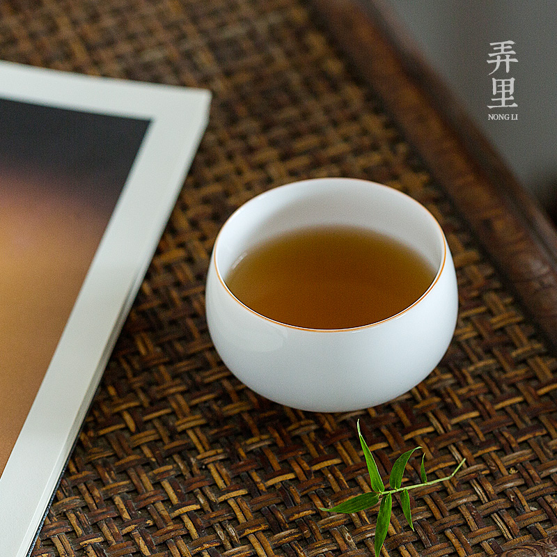 Get in jingdezhen yongle sweet white sample tea cup pure manual thin body white porcelain ceramic large master cup tea cups
