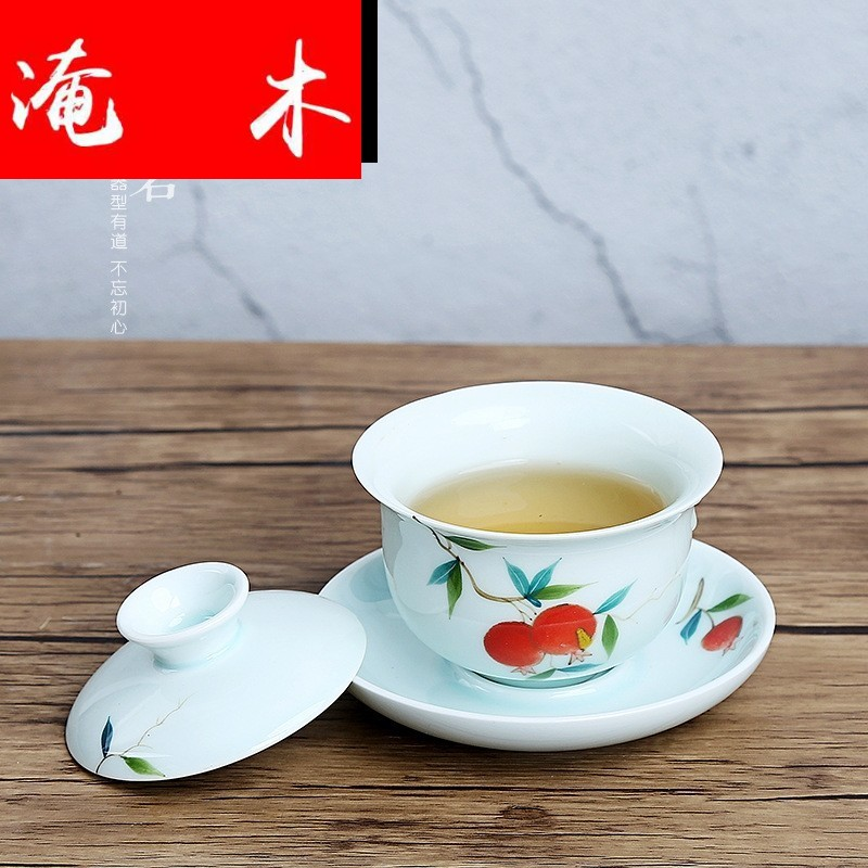 Submerged wood painting tureen large cups kung fu tea tea bowl of jingdezhen painting pastel three only