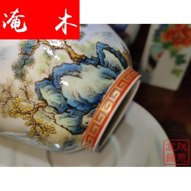 Flooded wood jingdezhen me which Chen is all hand glaze on enamel paint work full details landscape three tureen